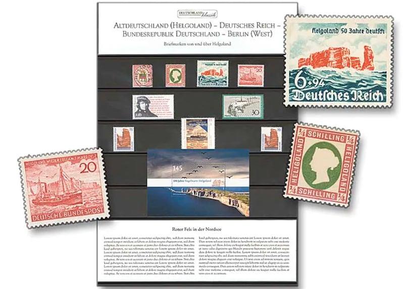 """Raritäten-Steckkarte, """"Briefmarken von und über Helgoland"""", Foto: Deutsche Post"""